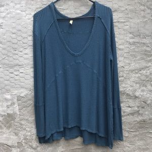 Free People waffle knit v-neck tunic thermal,